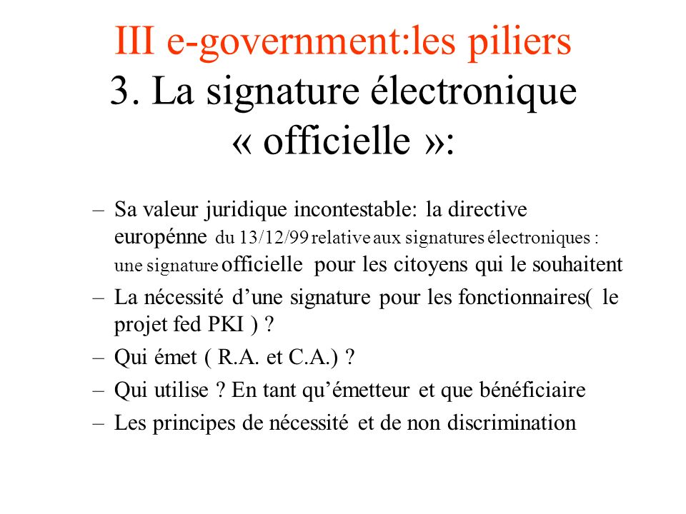 III e-government:les piliers 3.