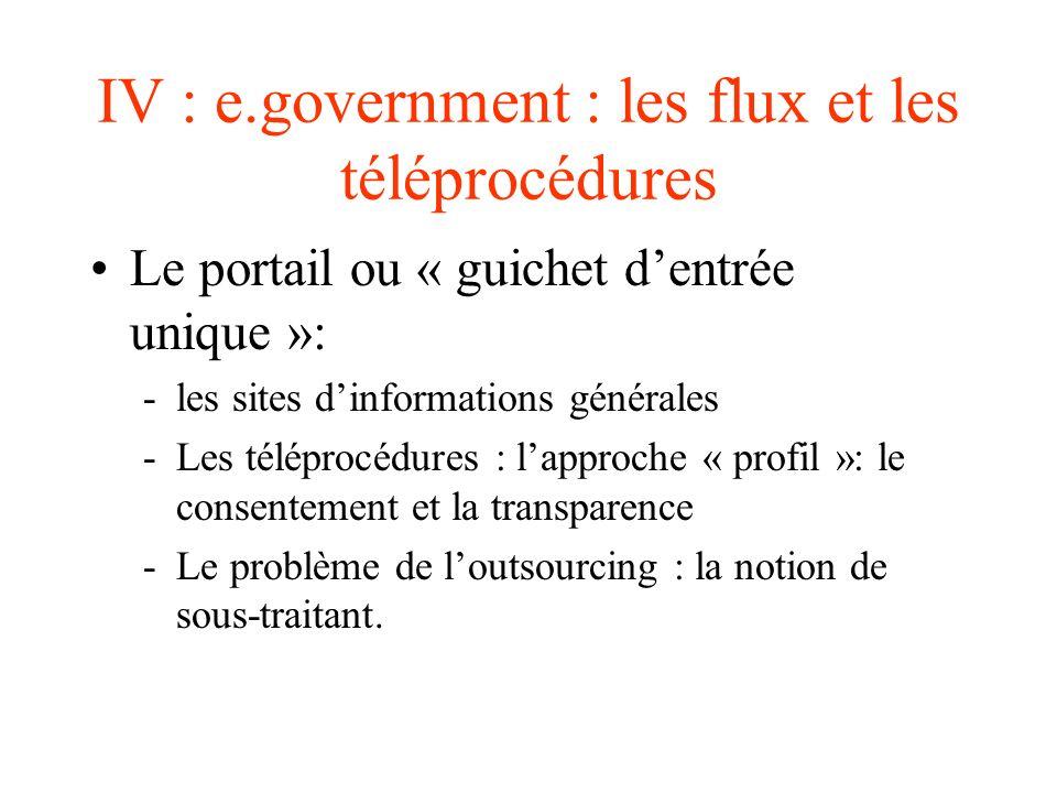 IV : e.government : les flux et les téléprocédures Le portail ou « guichet dentrée unique »: -les sites dinformations générales -Les téléprocédures :