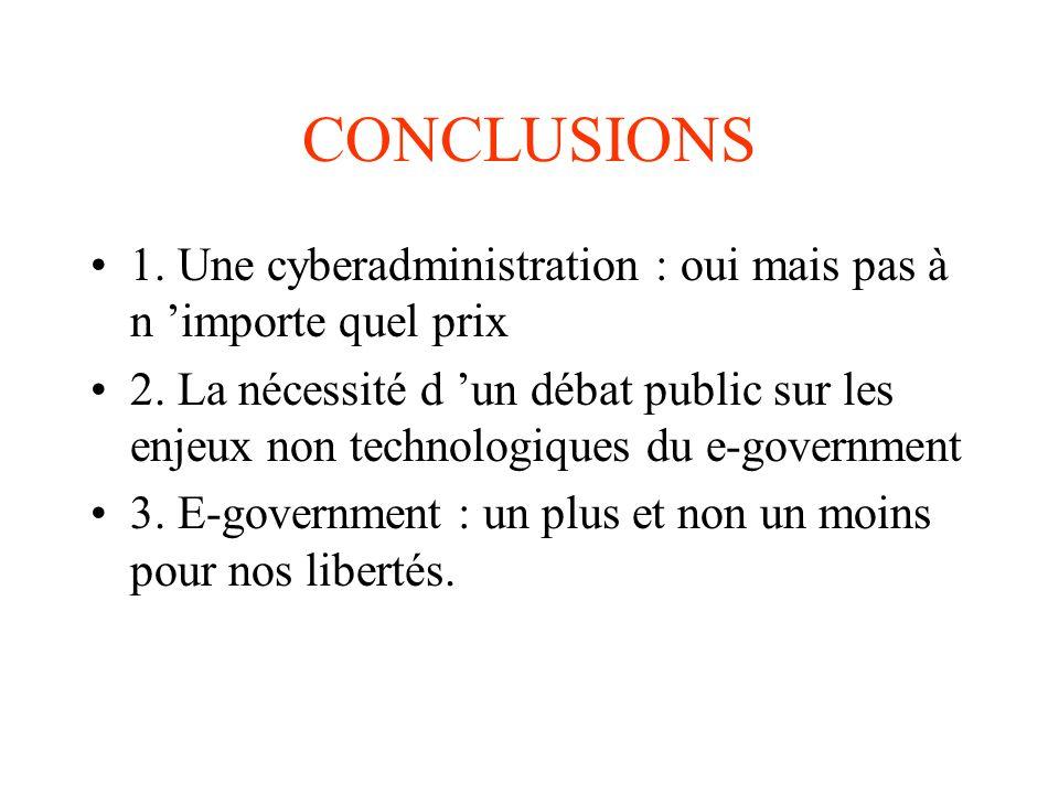CONCLUSIONS 1. Une cyberadministration : oui mais pas à n importe quel prix 2. La nécessité d un débat public sur les enjeux non technologiques du e-g