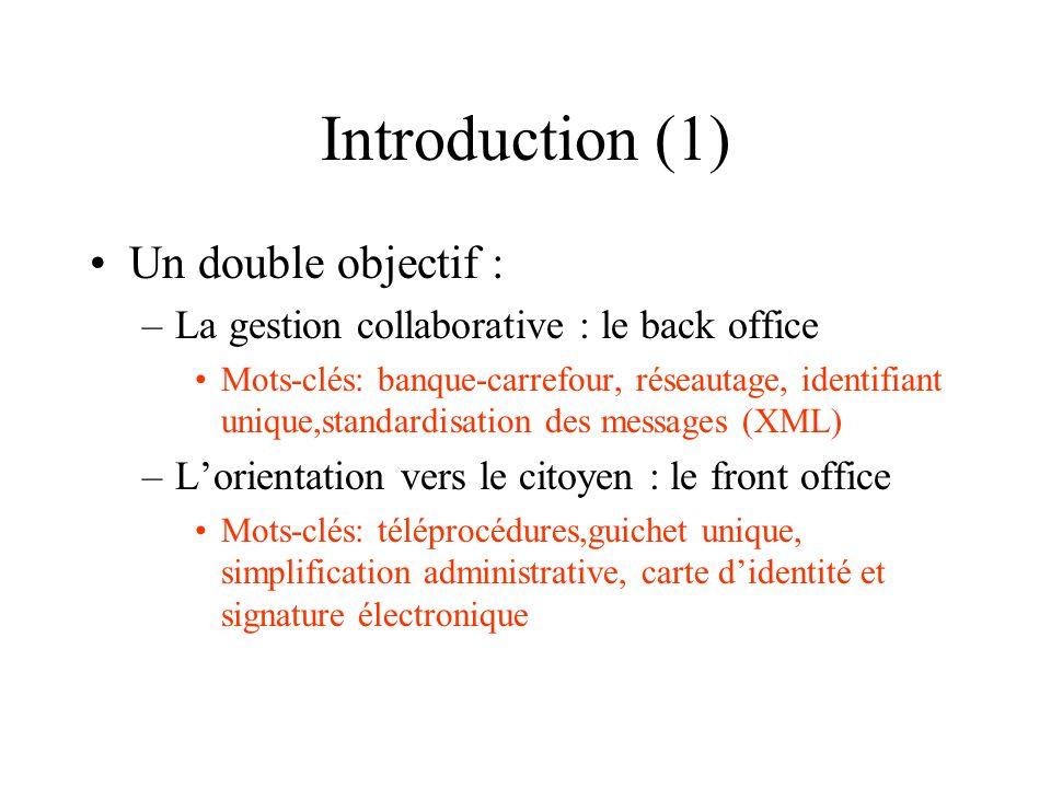 Introduction (1) Un double objectif : –La gestion collaborative : le back office Mots-clés: banque-carrefour, réseautage, identifiant unique,standardi
