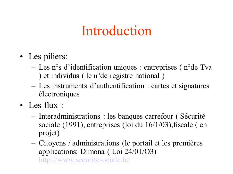 Introduction Les piliers: –Les n°s didentification uniques : entreprises ( n°de Tva ) et individus ( le n°de registre national ) –Les instruments daut