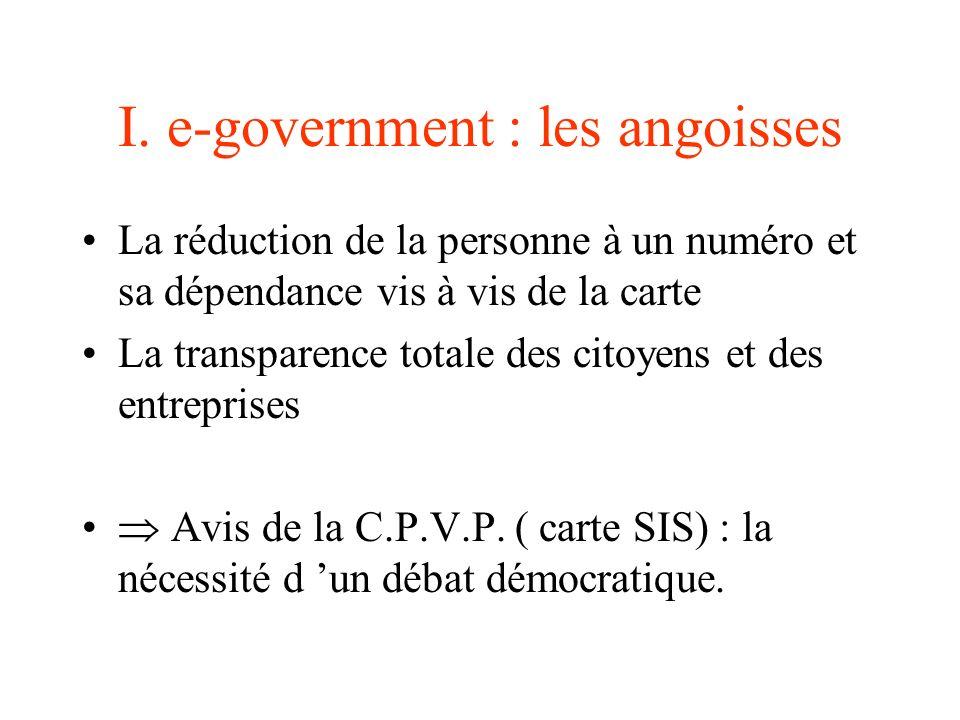 I. e-government : les angoisses La réduction de la personne à un numéro et sa dépendance vis à vis de la carte La transparence totale des citoyens et