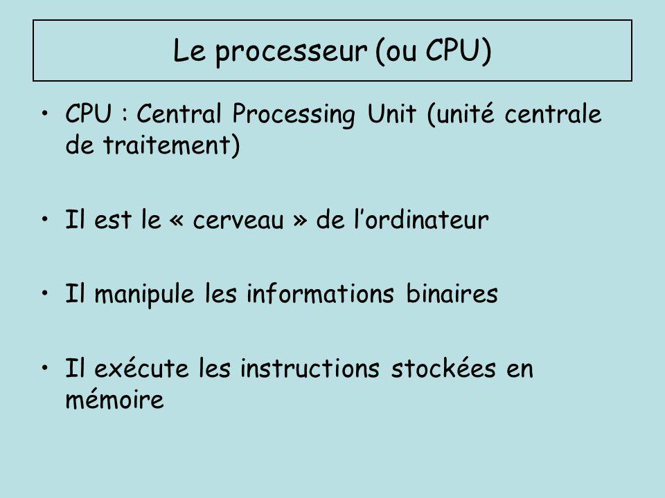 La mémoire Composant électronique capable de stocker des données Deux types de mémoires : A/ mémoire centrale : elle mémorise temporairement les données (elle est appelée aussi mémoire vive) B/ mémoire de masse : elle mémorise les données à long terme même après larrêt de lordinateur (disque dur, dvd, mémoires mortes)