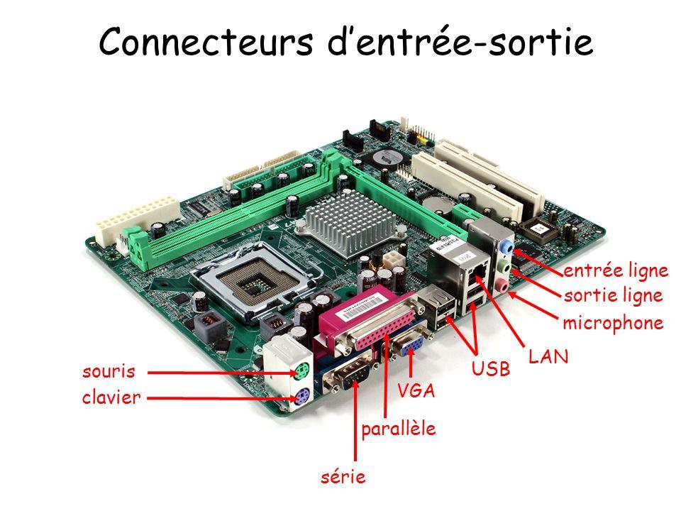 Connecteurs dentrée-sortie souris clavier série VGA parallèle USB LAN entrée ligne sortie ligne microphone