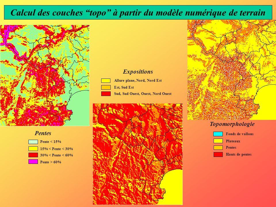 Pentes Expositions Topomorphologie Calcul des couches topo à partir du modèle numérique de terrain Pente < 15% 15% < Pente < 30% 30% < Pente < 60% Pen