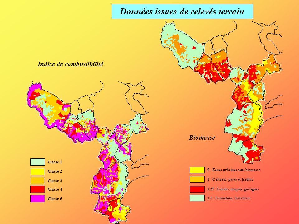 Données issues de relevés terrain Biomasse Indice de combustibilité Classe 1 Classe 2 Classe 3 Classe 4 Classe 5 0 : Zones urbaines sans biomasse 1 :