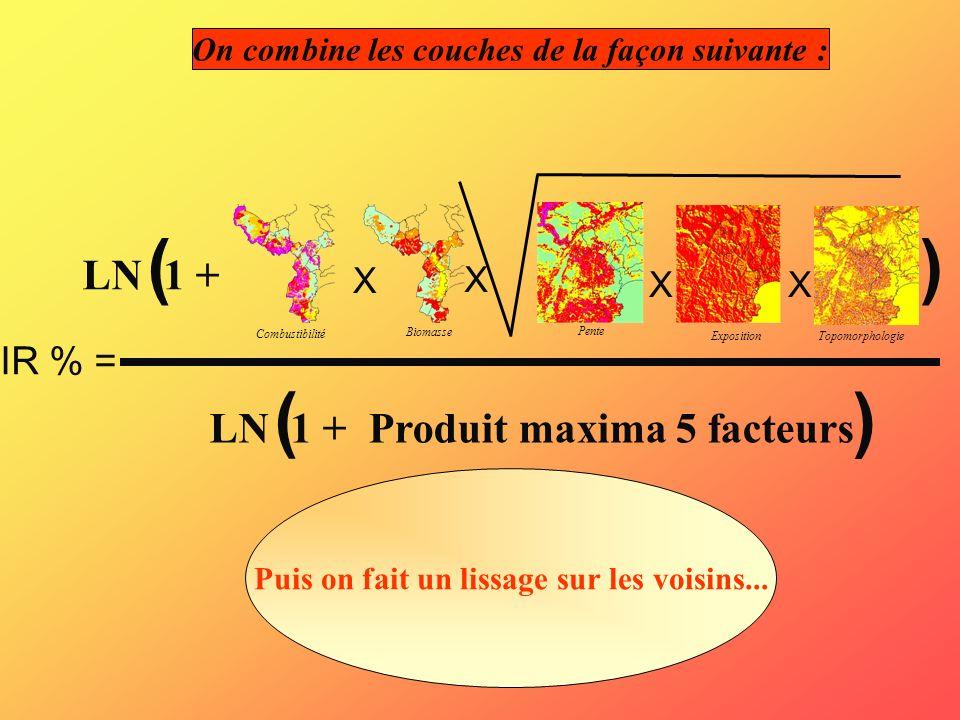 On combine les couches de la façon suivante : IR % = X LN 1 + () ( ) Produit maxima 5 facteurs Combustibilité Biomasse Pente Exposition Topomorphologi