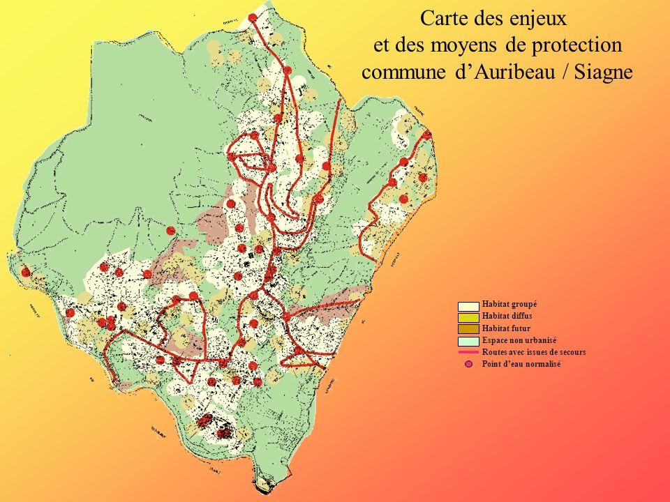Habitat groupé Habitat diffus Habitat futur Espace non urbanisé Routes avec issues de secours Point deau normalisé Carte des enjeux et des moyens de p