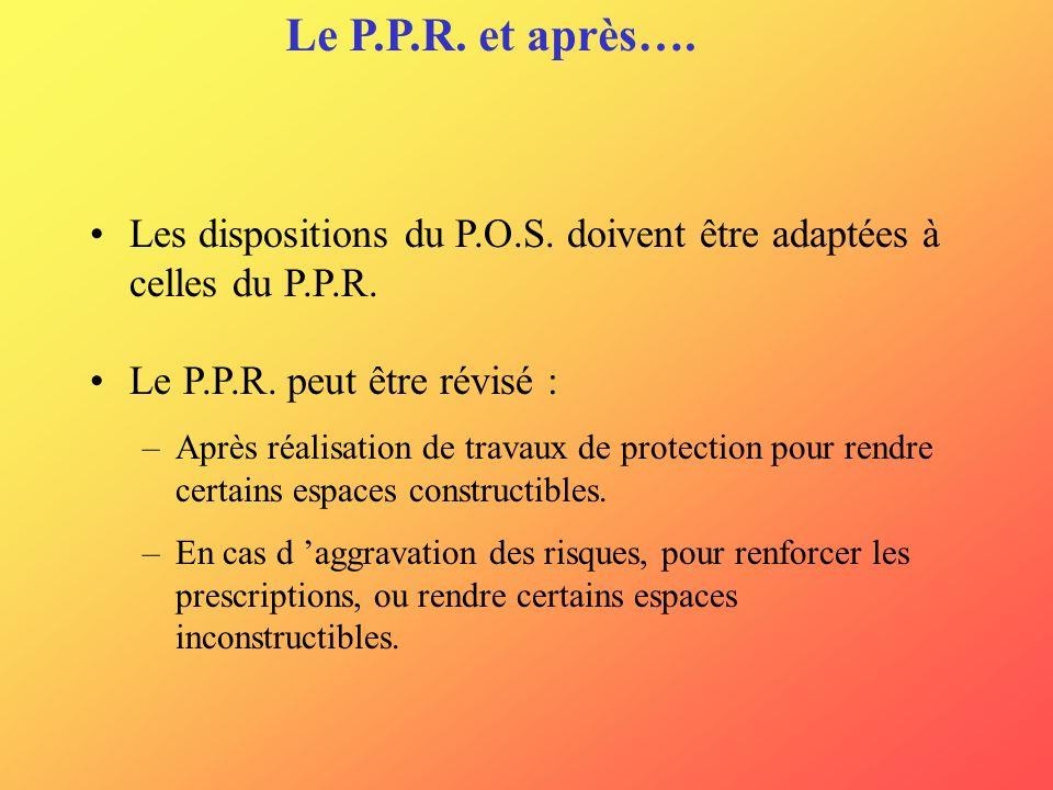 Le P.P.R. et après…. Les dispositions du P.O.S. doivent être adaptées à celles du P.P.R. Le P.P.R. peut être révisé : –Après réalisation de travaux de