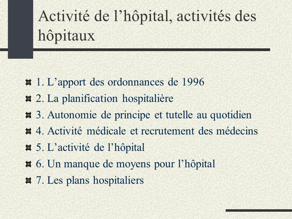 Activité de lhôpital, activités des hôpitaux 1.Lapport des ordonnances de 1996 2.