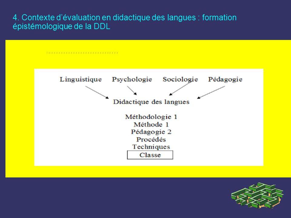 4. Contexte dévaluation en didactique des langues : formation épistémologique de la DDL