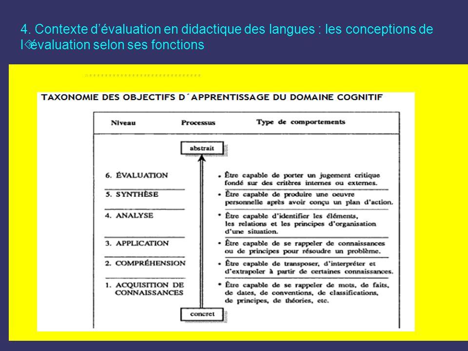 4. Contexte dévaluation en didactique des langues : les conceptions de l´évaluation selon ses fonctions