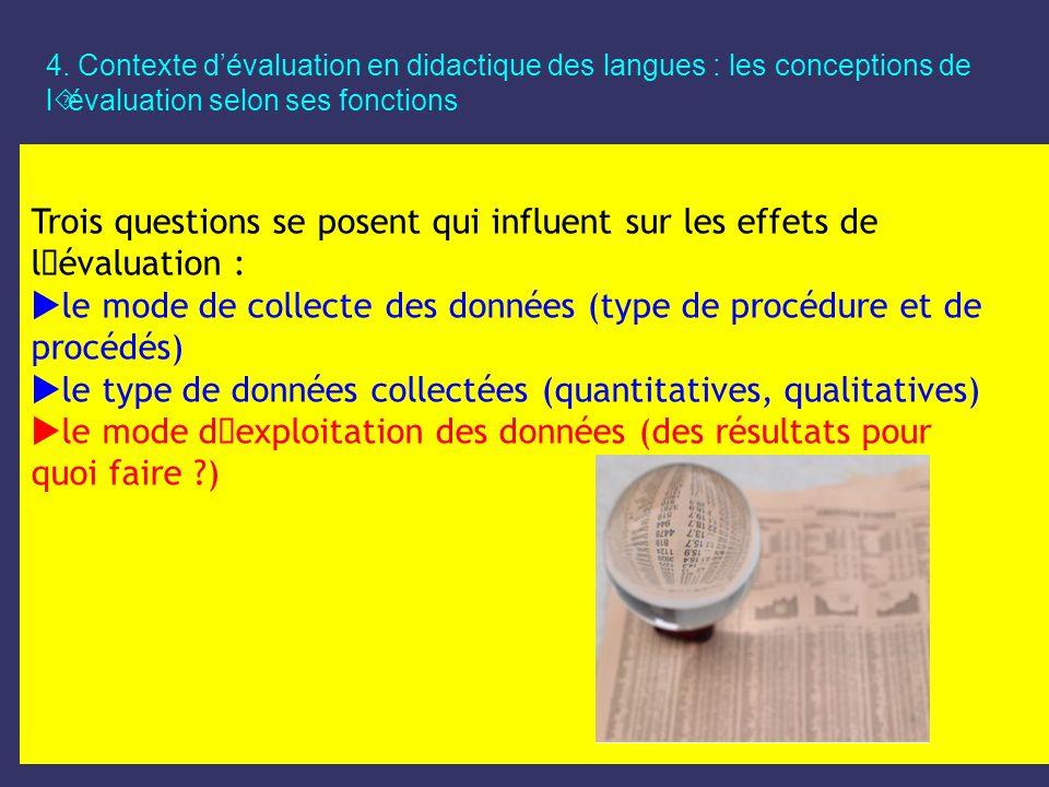 4. Contexte dévaluation en didactique des langues : les conceptions de l´évaluation selon ses fonctions Trois questions se posent qui influent sur les