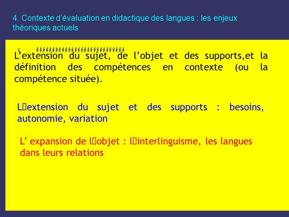4. Contexte dévaluation en didactique des langues : les enjeux théoriques actuels Lextension du sujet, de lobjet et des supports,et la définition des