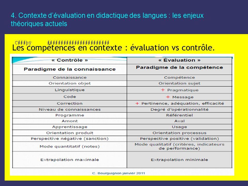 4. Contexte dévaluation en didactique des langues : les enjeux théoriques actuels Les compétences en contexte : évaluation vs contrôle.
