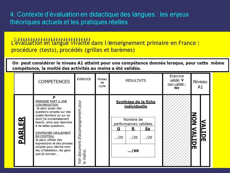 4. Contexte dévaluation en didactique des langues : les enjeux théoriques actuels et les pratiques réelles L'évaluation en langue vivante dans l´ensei