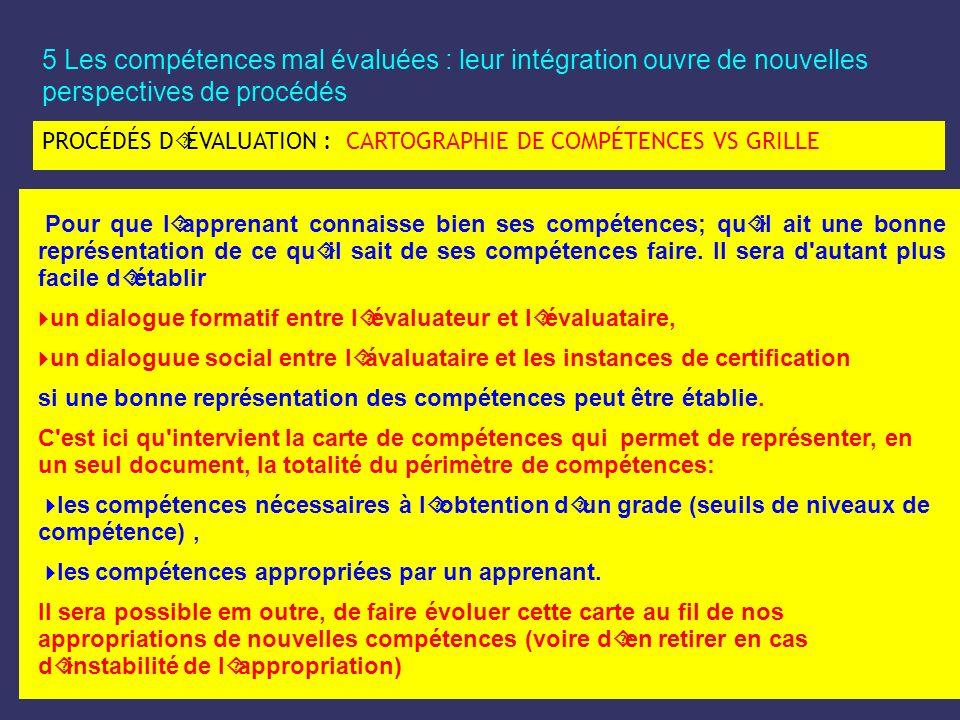 5 Les compétences mal évaluées : leur intégration ouvre de nouvelles perspectives de procédés PROCÉDÉS D´ÉVALUATION : CARTOGRAPHIE DE COMPÉTENCES VS G