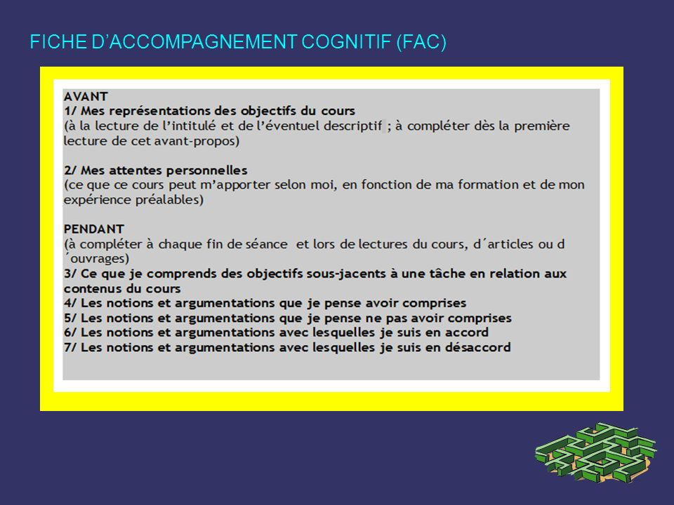 FICHE DACCOMPAGNEMENT COGNITIF (FAC)