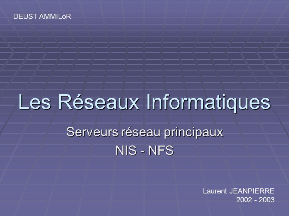 Les Réseaux Informatiques Serveurs réseau principaux NIS - NFS Laurent JEANPIERRE 2002 - 2003 DEUST AMMILoR