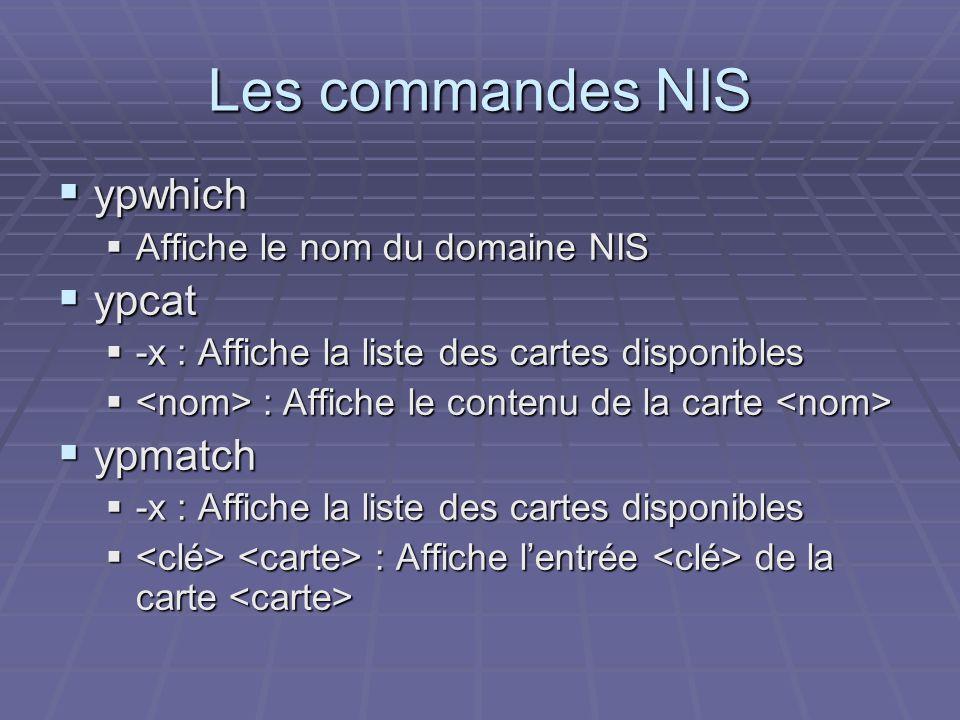 Les commandes NIS ypwhich ypwhich Affiche le nom du domaine NIS Affiche le nom du domaine NIS ypcat ypcat -x : Affiche la liste des cartes disponibles