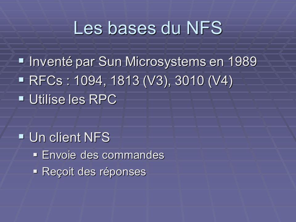 Les bases du NFS Inventé par Sun Microsystems en 1989 Inventé par Sun Microsystems en 1989 RFCs : 1094, 1813 (V3), 3010 (V4) RFCs : 1094, 1813 (V3), 3