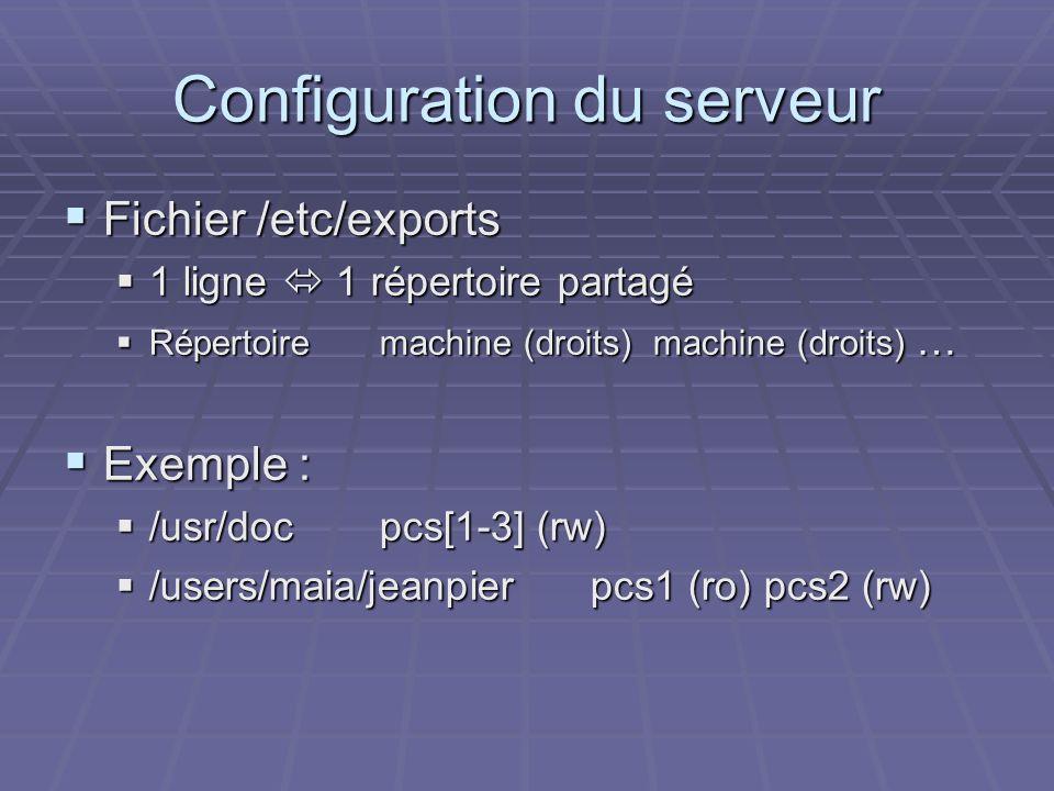 Configuration du serveur Fichier /etc/exports Fichier /etc/exports 1 ligne 1 répertoire partagé 1 ligne 1 répertoire partagé Répertoiremachine (droits