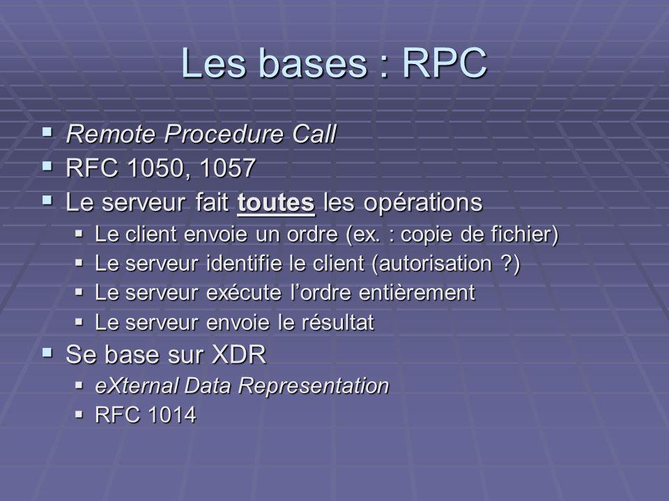 Les bases : RPC Remote Procedure Call Remote Procedure Call RFC 1050, 1057 RFC 1050, 1057 Le serveur fait toutes les opérations Le serveur fait toutes