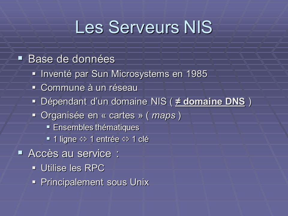 Les Serveurs NIS Base de données Base de données Inventé par Sun Microsystems en 1985 Inventé par Sun Microsystems en 1985 Commune à un réseau Commune