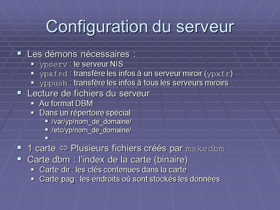 Configuration du serveur Les démons nécessaires : Les démons nécessaires : ypserv : le serveur NIS ypserv : le serveur NIS ypxfrd : transfère les info