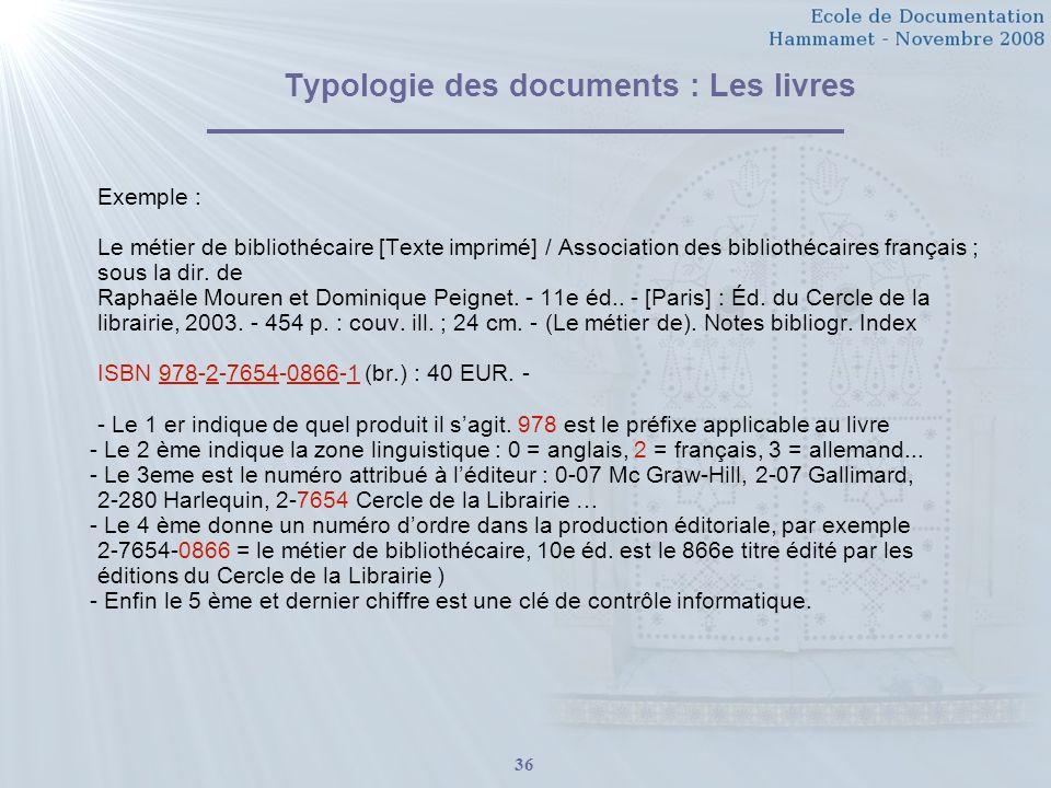 36 Typologie des documents : Les livres Exemple : Le métier de bibliothécaire [Texte imprimé] / Association des bibliothécaires français ; sous la dir.