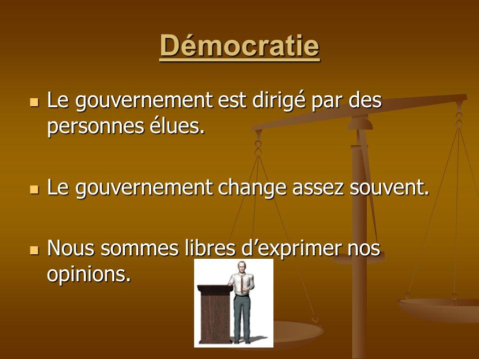 La démocratie et les autres pays Daprès vous, retrouve-t-on la démocratie dans tous les pays.