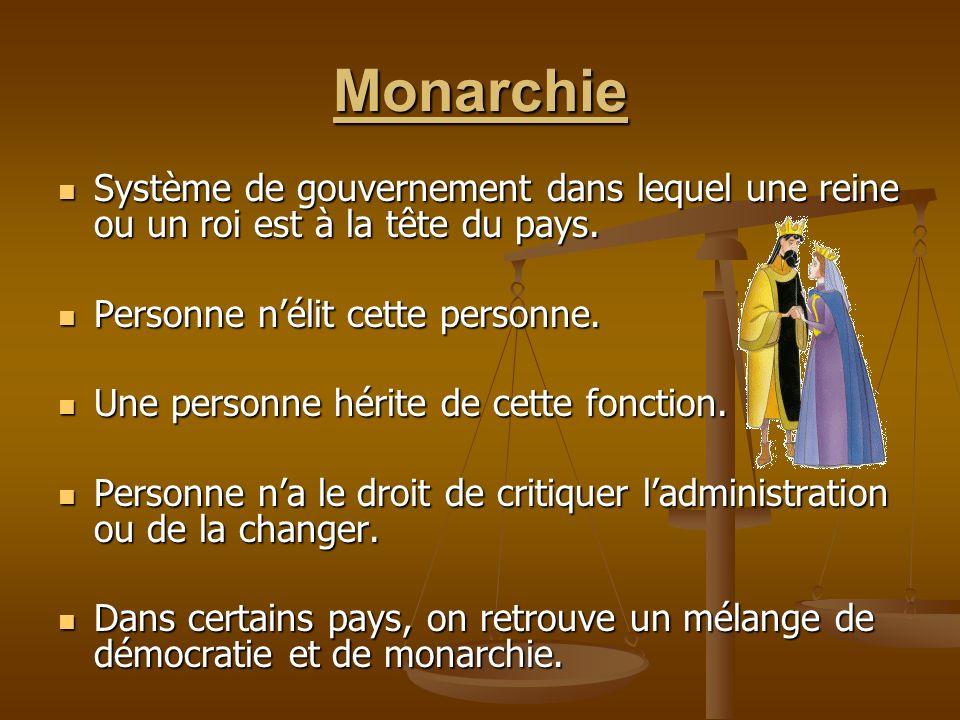 Dictature Le régime politique dans lequel le pouvoir suprême est aux mains dune personne qui nest pas élue.