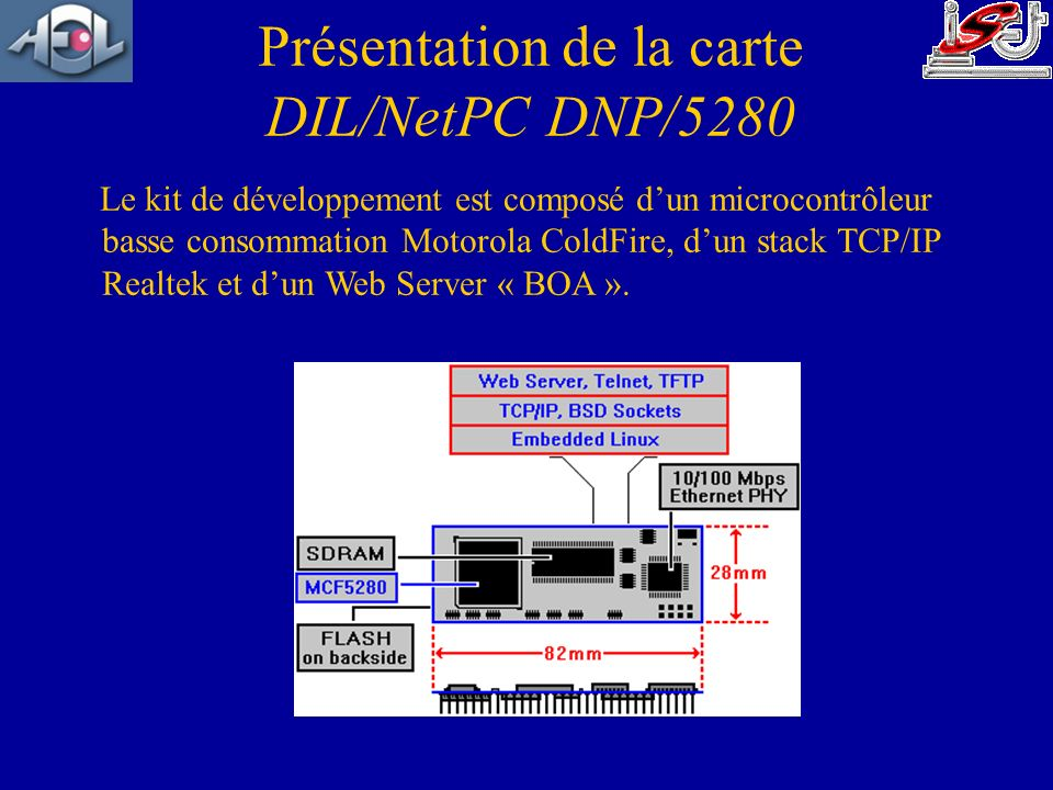 Le kit de développement est composé dun microcontrôleur basse consommation Motorola ColdFire, dun stack TCP/IP Realtek et dun Web Server « BOA ». Prés