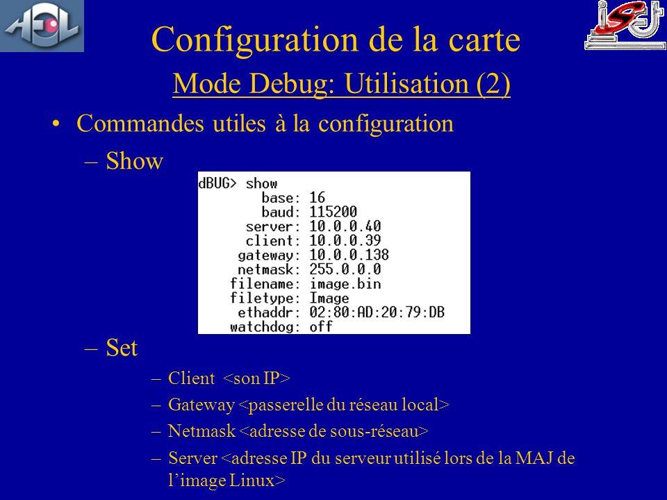 Commandes utiles à la configuration –Show –Set –Client –Gateway –Netmask –Server Mode Debug: Utilisation (2)