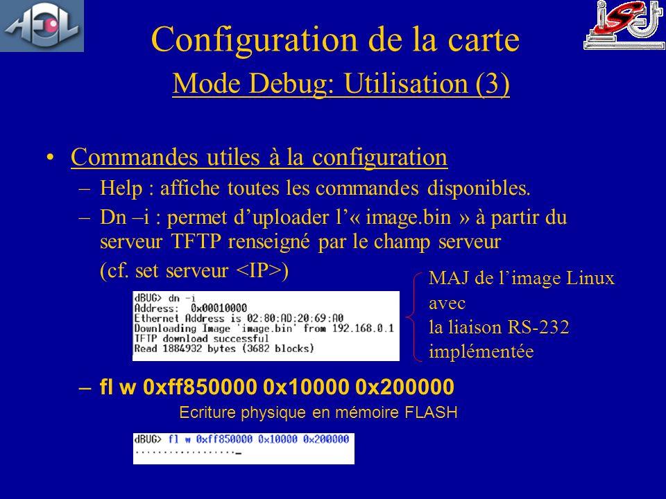 Commandes utiles à la configuration –Help : affiche toutes les commandes disponibles. –Dn –i : permet duploader l« image.bin » à partir du serveur TFT