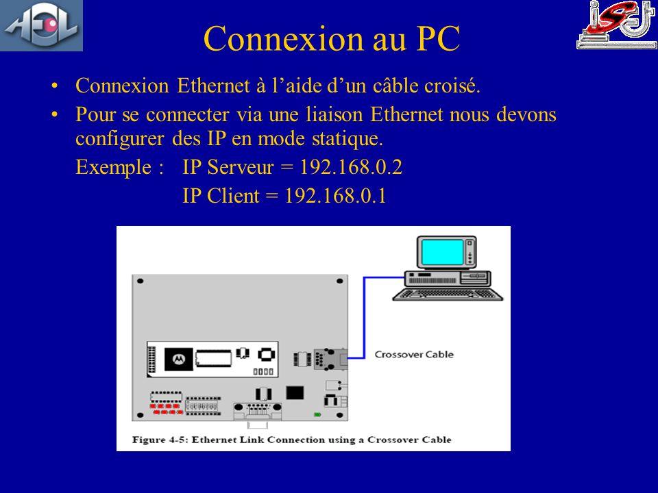Connexion au PC Connexion Ethernet à laide dun câble croisé. Pour se connecter via une liaison Ethernet nous devons configurer des IP en mode statique