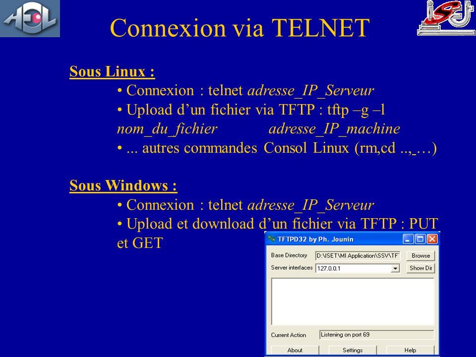 Connexion via TELNET Sous Linux : Connexion : telnet adresse_IP_Serveur Upload dun fichier via TFTP : tftp –g –l nom_du_fichier adresse_IP_machine...