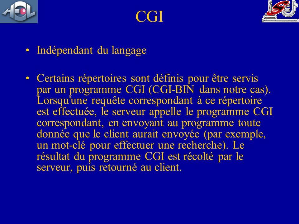 CGI Indépendant du langage Certains répertoires sont définis pour être servis par un programme CGI (CGI-BIN dans notre cas). Lorsqu'une requête corres