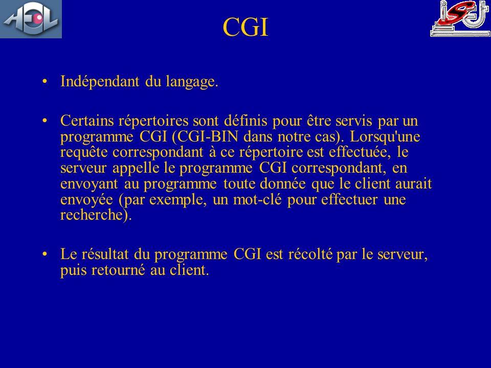 CGI Indépendant du langage. Certains répertoires sont définis pour être servis par un programme CGI (CGI-BIN dans notre cas). Lorsqu'une requête corre