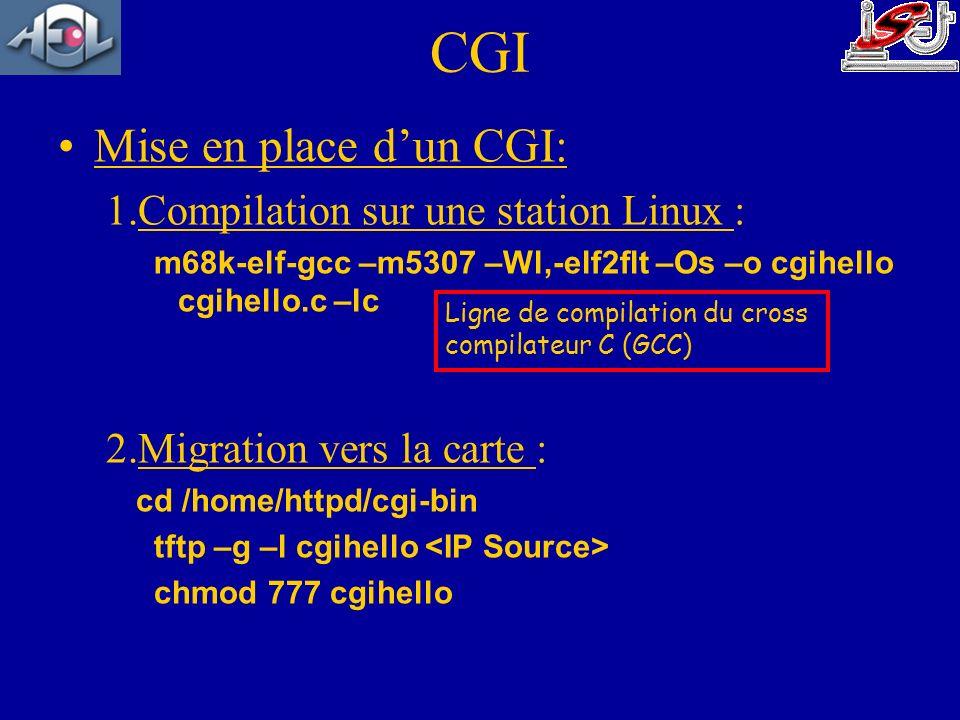 Mise en place dun CGI: 1.Compilation sur une station Linux : m68k-elf-gcc –m5307 –Wl,-elf2flt –Os –o cgihello cgihello.c –lc 2.Migration vers la carte