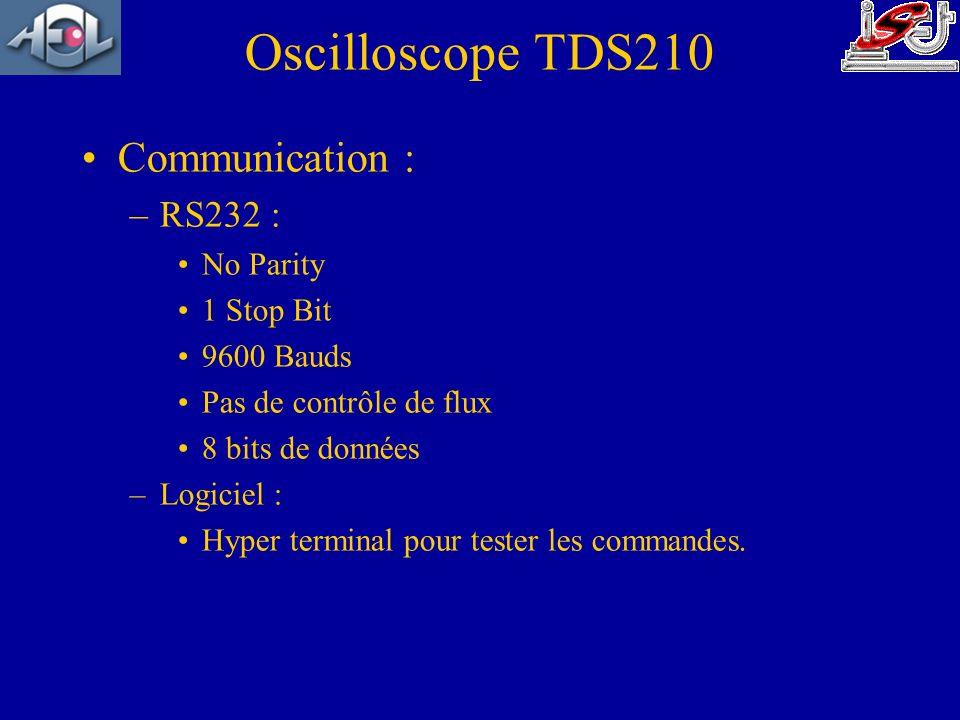 Communication : –RS232 : No Parity 1 Stop Bit 9600 Bauds Pas de contrôle de flux 8 bits de données –Logiciel : Hyper terminal pour tester les commande