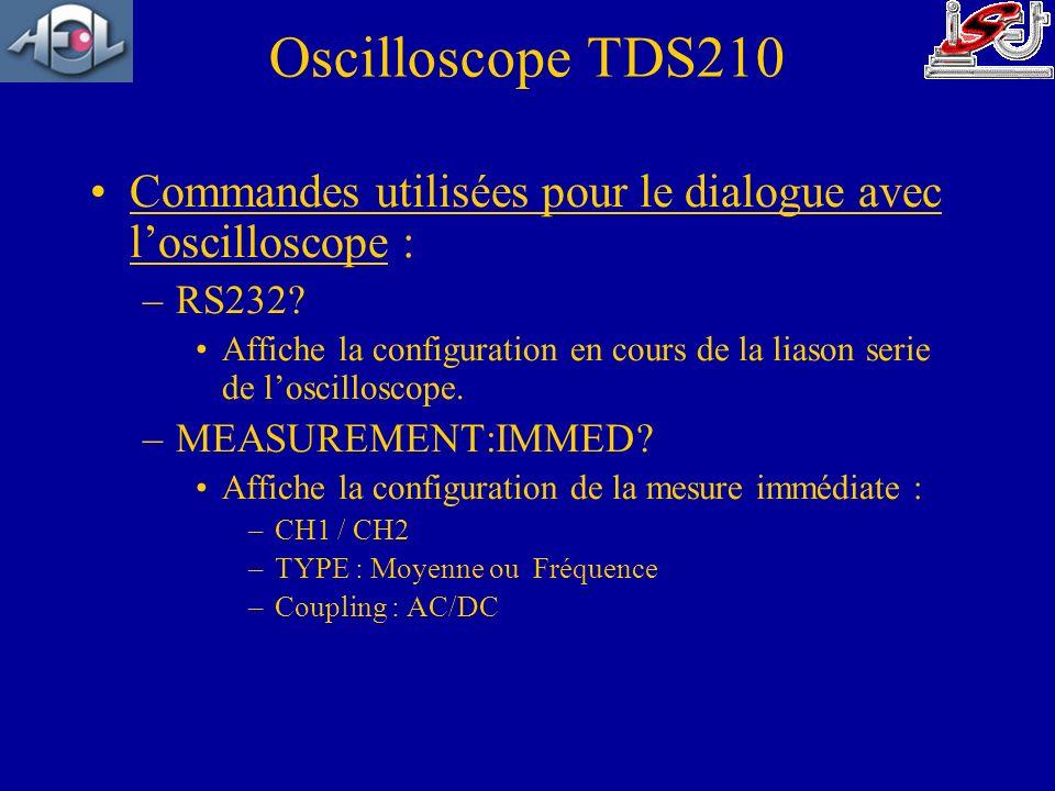 Commandes utilisées pour le dialogue avec loscilloscope : –RS232? Affiche la configuration en cours de la liason serie de loscilloscope. –MEASUREMENT: