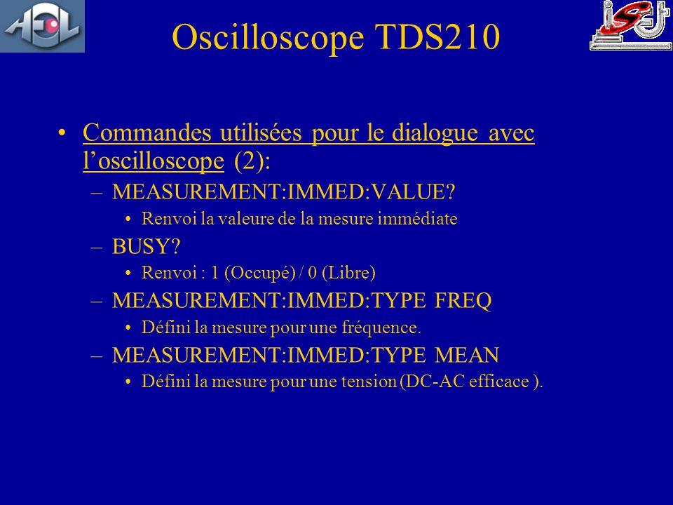 Commandes utilisées pour le dialogue avec loscilloscope (2): –MEASUREMENT:IMMED:VALUE? Renvoi la valeure de la mesure immédiate –BUSY? Renvoi : 1 (Occ