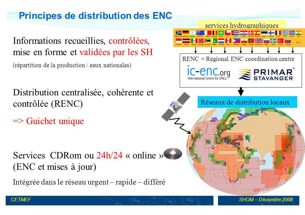 SHOM – Décembre 2008CETMEF RENC = Regional ENC coordination centre Principes de distribution des ENC Informations recueillies, contrôlées, mise en forme et validées par les SH (répartition de la production / eaux nationales) Distribution centralisée, cohérente et contrôlée (RENC) => Guichet unique Services CDRom ou 24h/24 « online » (ENC et mises à jour) Intégrée dans le réseau urgent – rapide – différé services hydrographiques Réseaux de distribution locaux