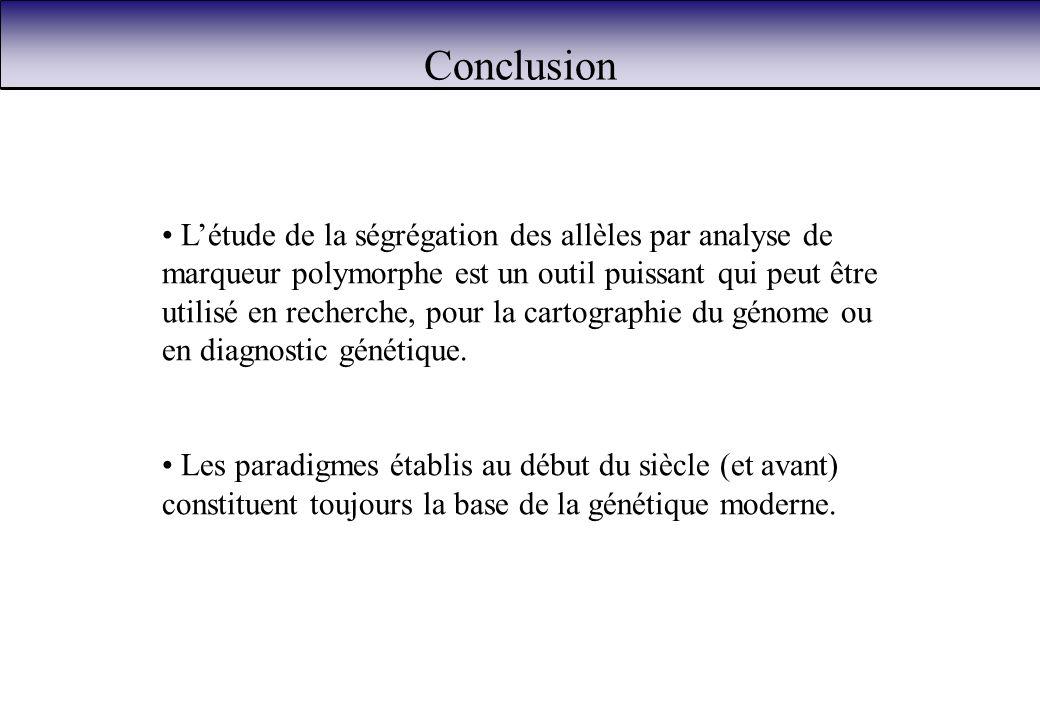 Conclusion Létude de la ségrégation des allèles par analyse de marqueur polymorphe est un outil puissant qui peut être utilisé en recherche, pour la c