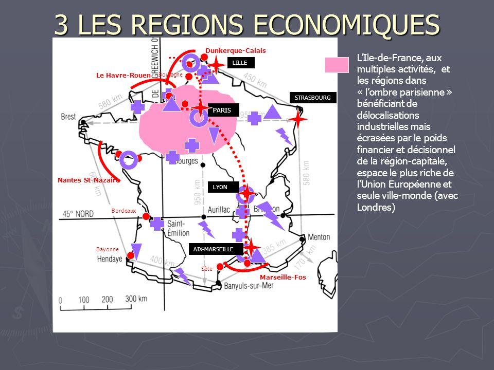 3 LES REGIONS ECONOMIQUES LIle-de-France, aux multiples activités, et les régions dans « lombre parisienne » bénéficiant de délocalisations industriel