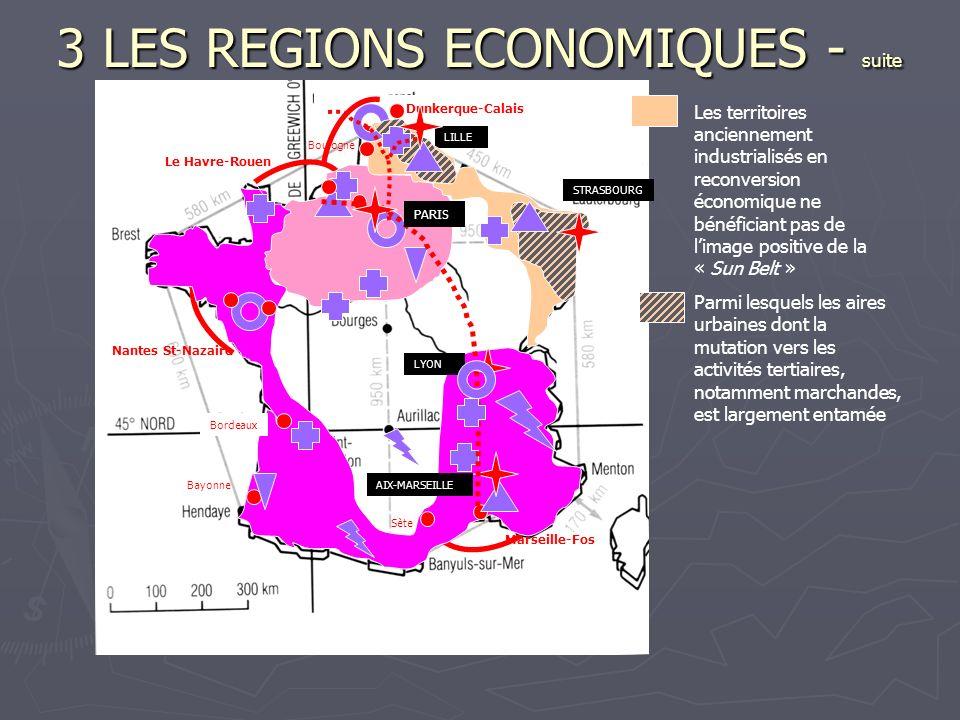 3 LES REGIONS ECONOMIQUES - suite Les territoires anciennement industrialisés en reconversion économique ne bénéficiant pas de limage positive de la «