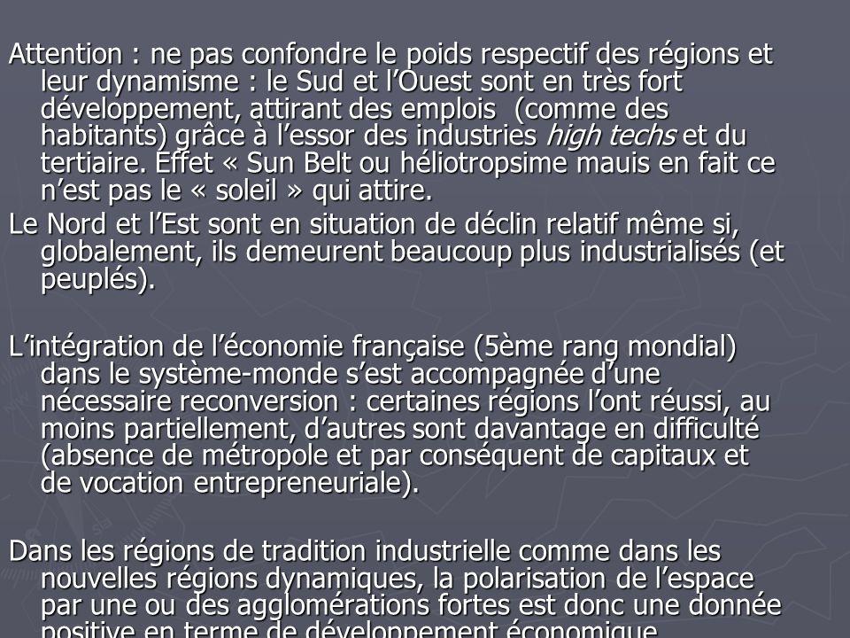 Attention : ne pas confondre le poids respectif des régions et leur dynamisme : le Sud et lOuest sont en très fort développement, attirant des emplois