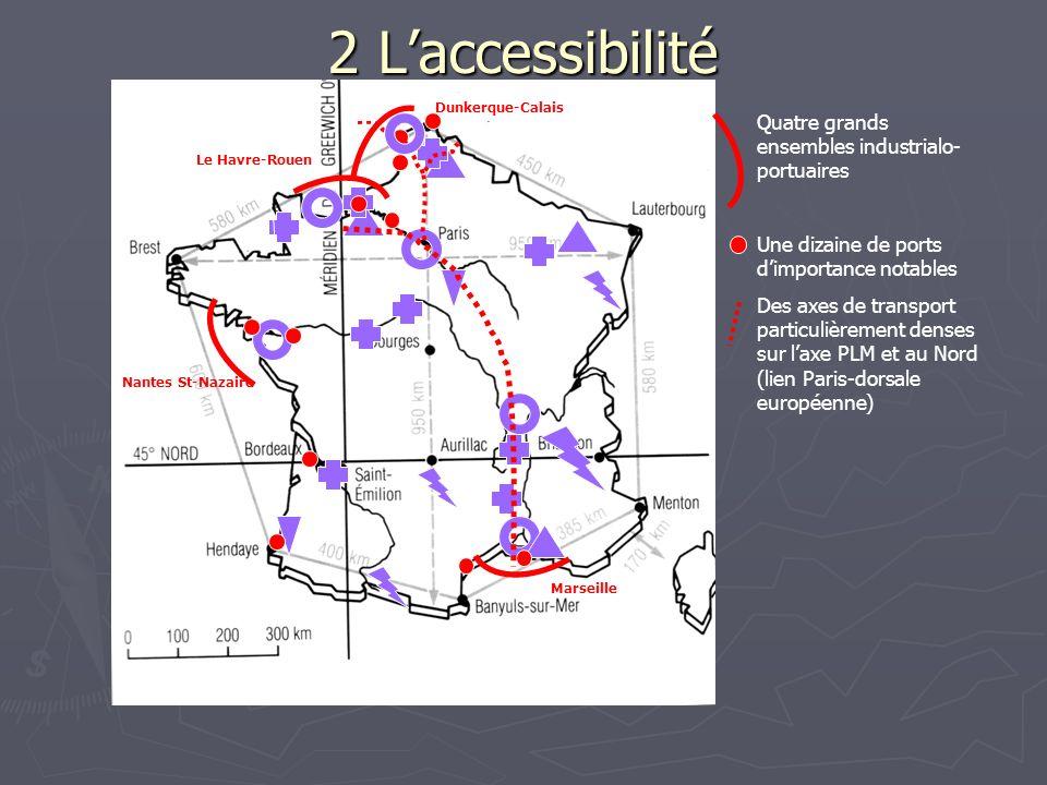 2 Laccessibilité Quatre grands ensembles industrialo- portuaires Une dizaine de ports dimportance notables Des axes de transport particulièrement dens