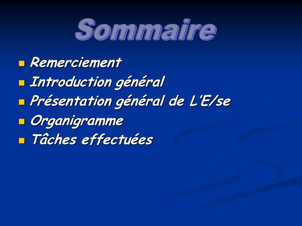 Remerciement Remerciement Introduction général Introduction général Présentation général de LE/se Présentation général de LE/se Organigramme Organigramme Tâches effectuées Tâches effectuées